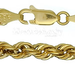 "14K Gold 18"" Hollow Rope Chain Necklace 4.9mm"