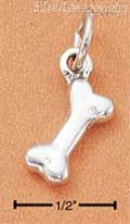 Sterling Silver High Polish Three Dimensional Dog Bone Charm