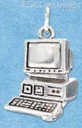 Sterling Silver Large Antiqued Computer Charm