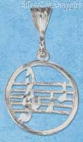 Sterling Silver Diamond Cut Round Music Staff Pendant With G-Clef And Notes