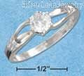 Sterling Silver 5mm Round Cz Double Curve Shank Ring Size 6