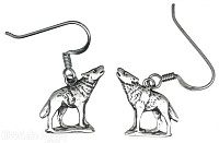 Sterling Silver Antiqued Howling Wolf Earrings On French Wires