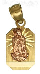 14K Gold Virgin of Guadalupe Rectangular Stamp Charm Pendant