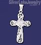 Sterling Silver Dia-Cut Cross Charm Pendant