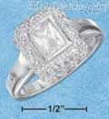Sterling Silver Womens Emerald Cut Clear Cz Ring W/ Fancy Border Size 8